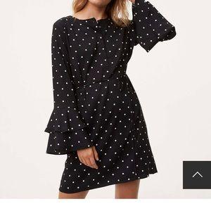Loft Polka Dot Bell Sleeve Dress